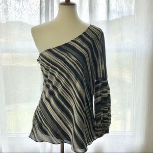 """H Halston M One Shoulder """"Post"""" Striped Blouse NWT"""